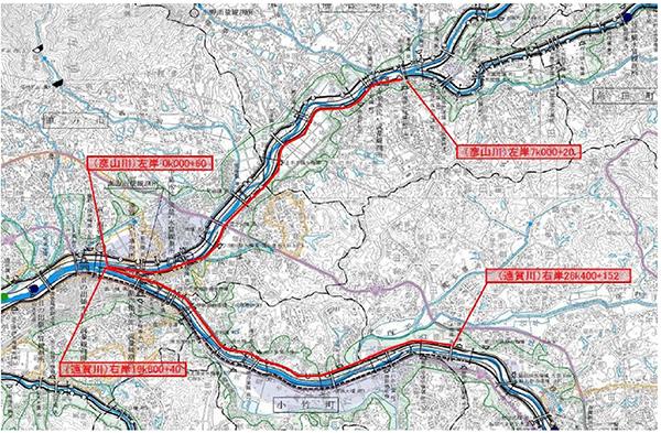 直方管内中央部河川維持管理工事地図
