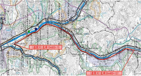 直方管内左岸部河川維持管理工事地図